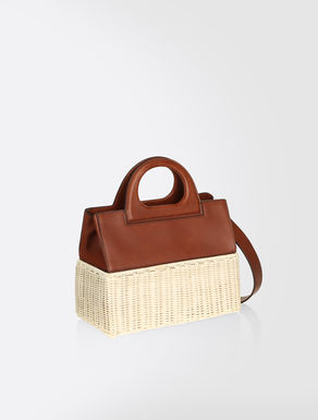 Wicker and leather bag