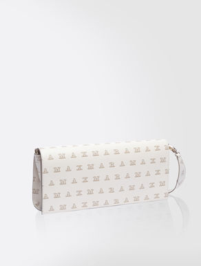 Printed leather baguette bag