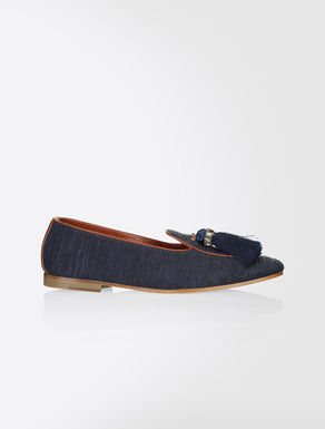 Fabric and leather loafers