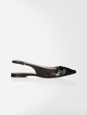 Nappa and sequin ballerina flats