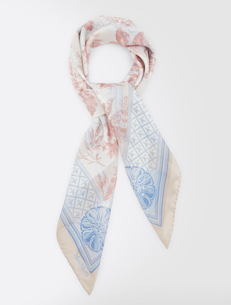 ピュア シルク サテンプリント スカーフ