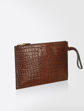 Pouch in crocodile-print leather