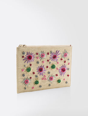 Embroidered fabric pouch