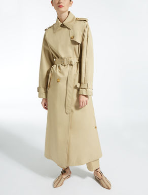 Cotton gabardine trench coat.
