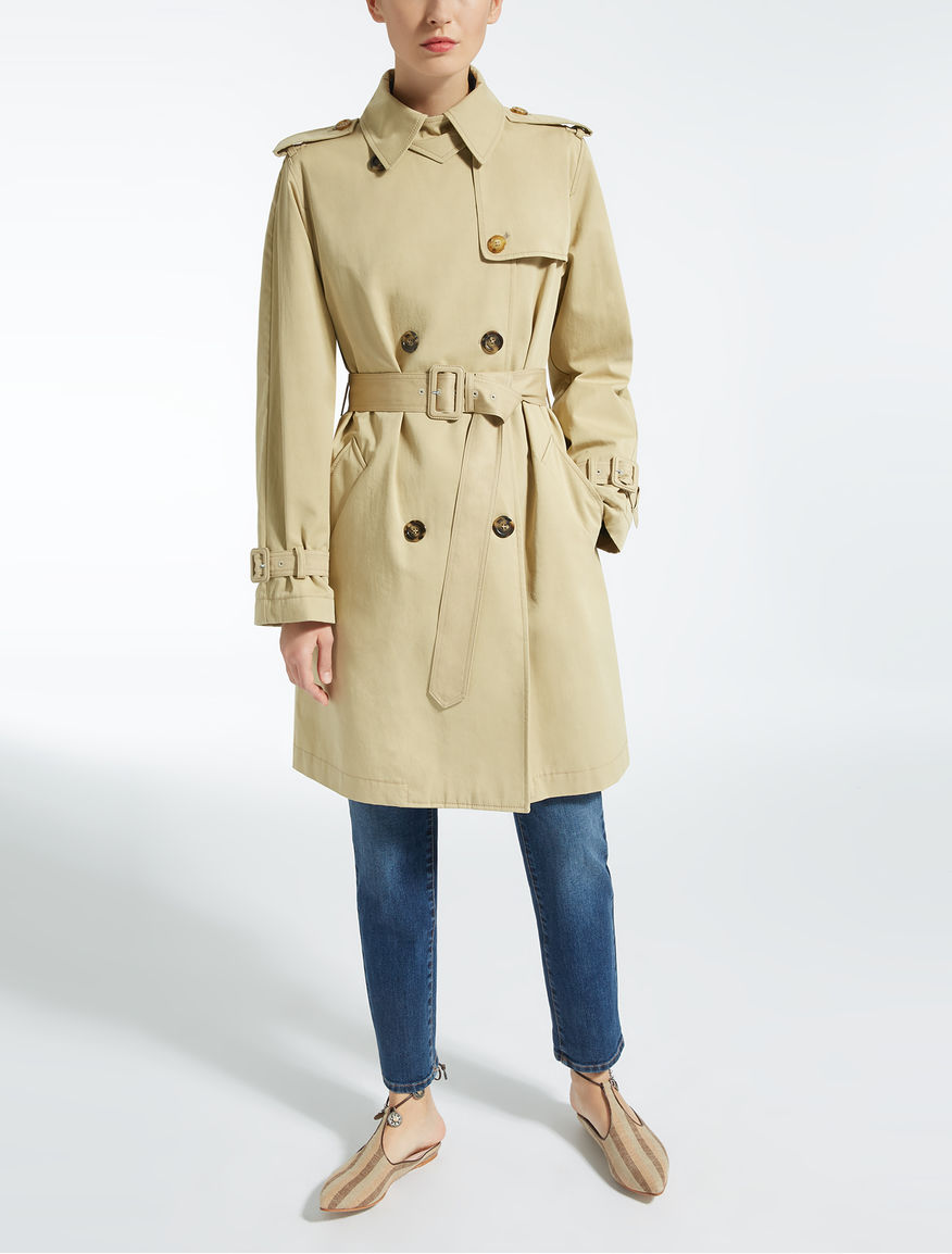 Cotton and lyocell twill trench coat