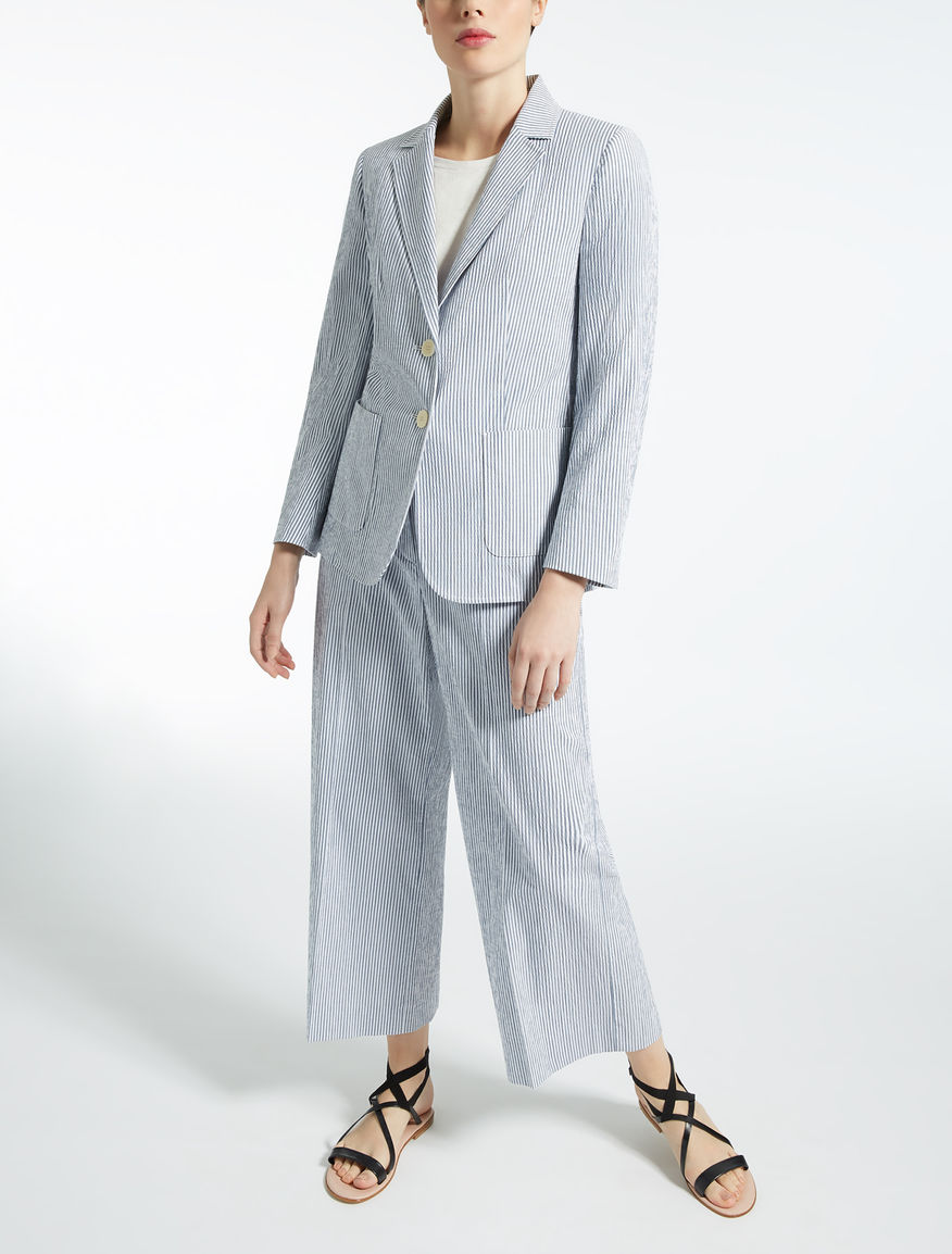 Cotton seersucker blazer, ultramarine - \