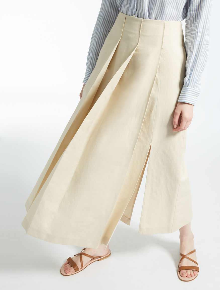 Cotton and linen skirt