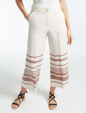 Linen and cotton satin trousers