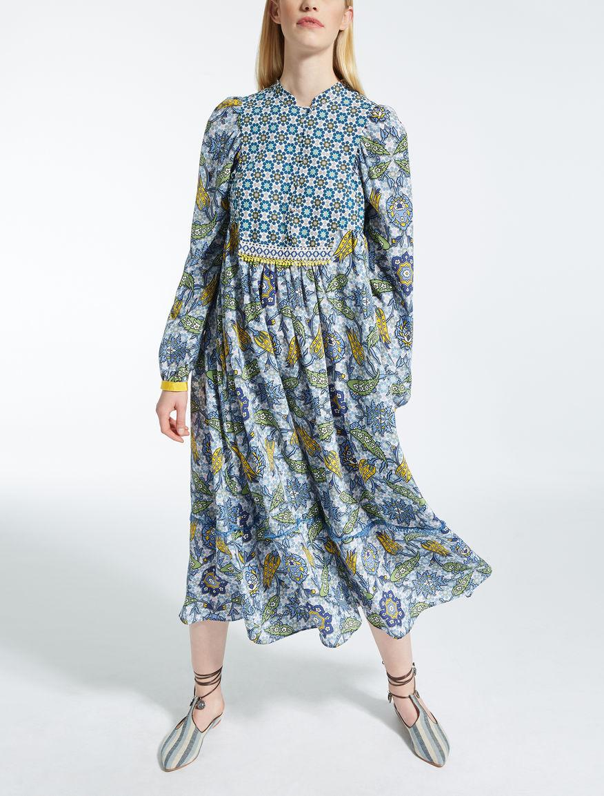 Vestido de crepé de China de seda, azul aviacion - \