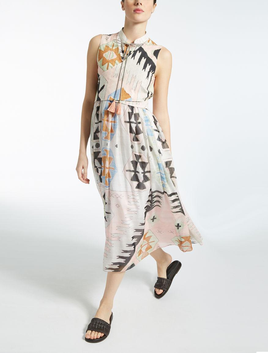 コットン シルクボイルフレア ドレス