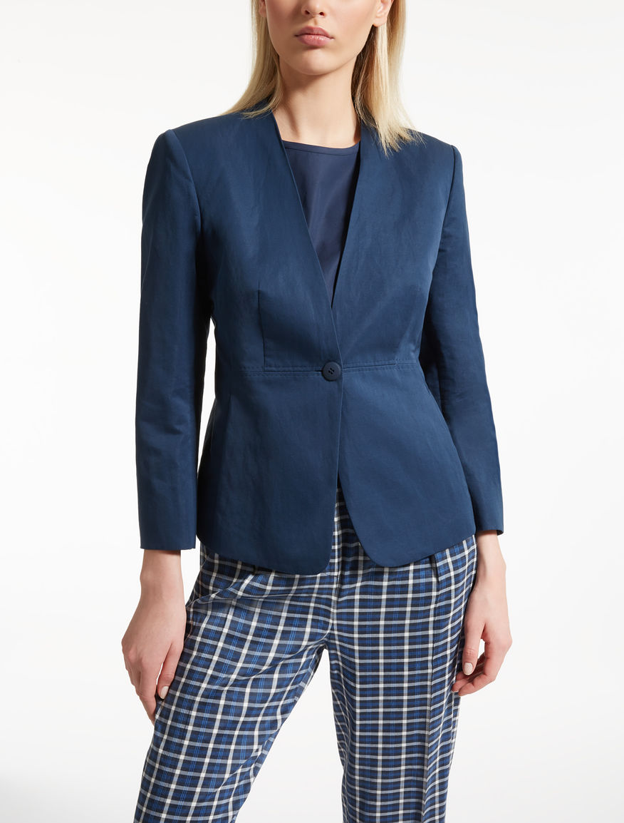 Cotton and ramie blazer