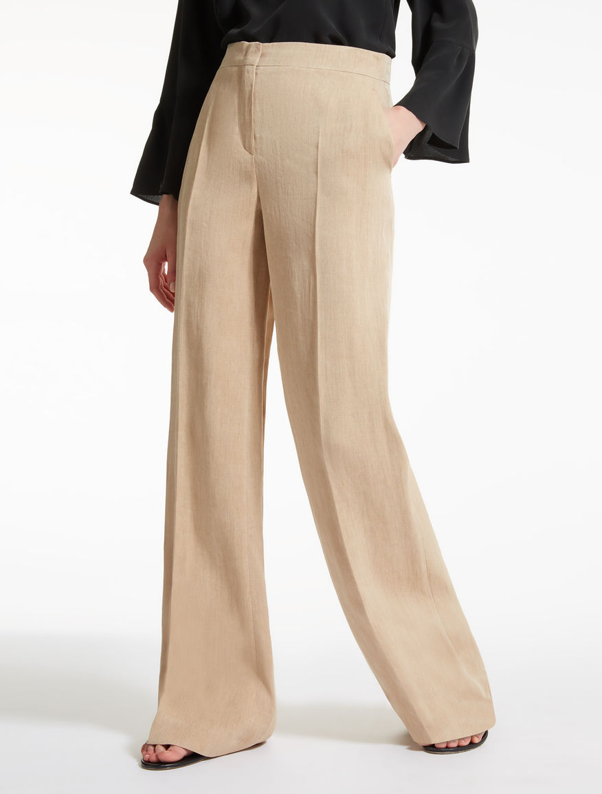Linen and ramie twill trousers
