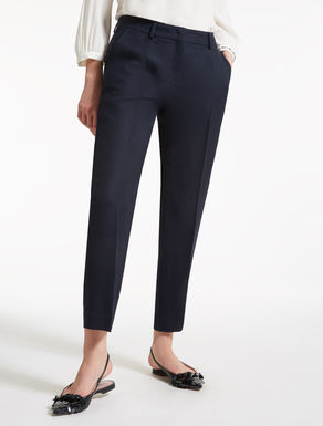 Linen and viscose twill trousers