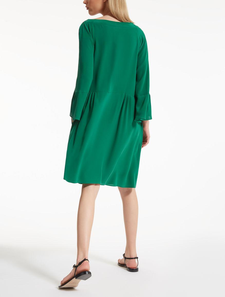 Vestido crepé de China de seda, esmaralda - \
