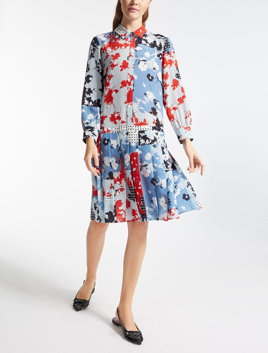 ピュア シルク プリントドレス