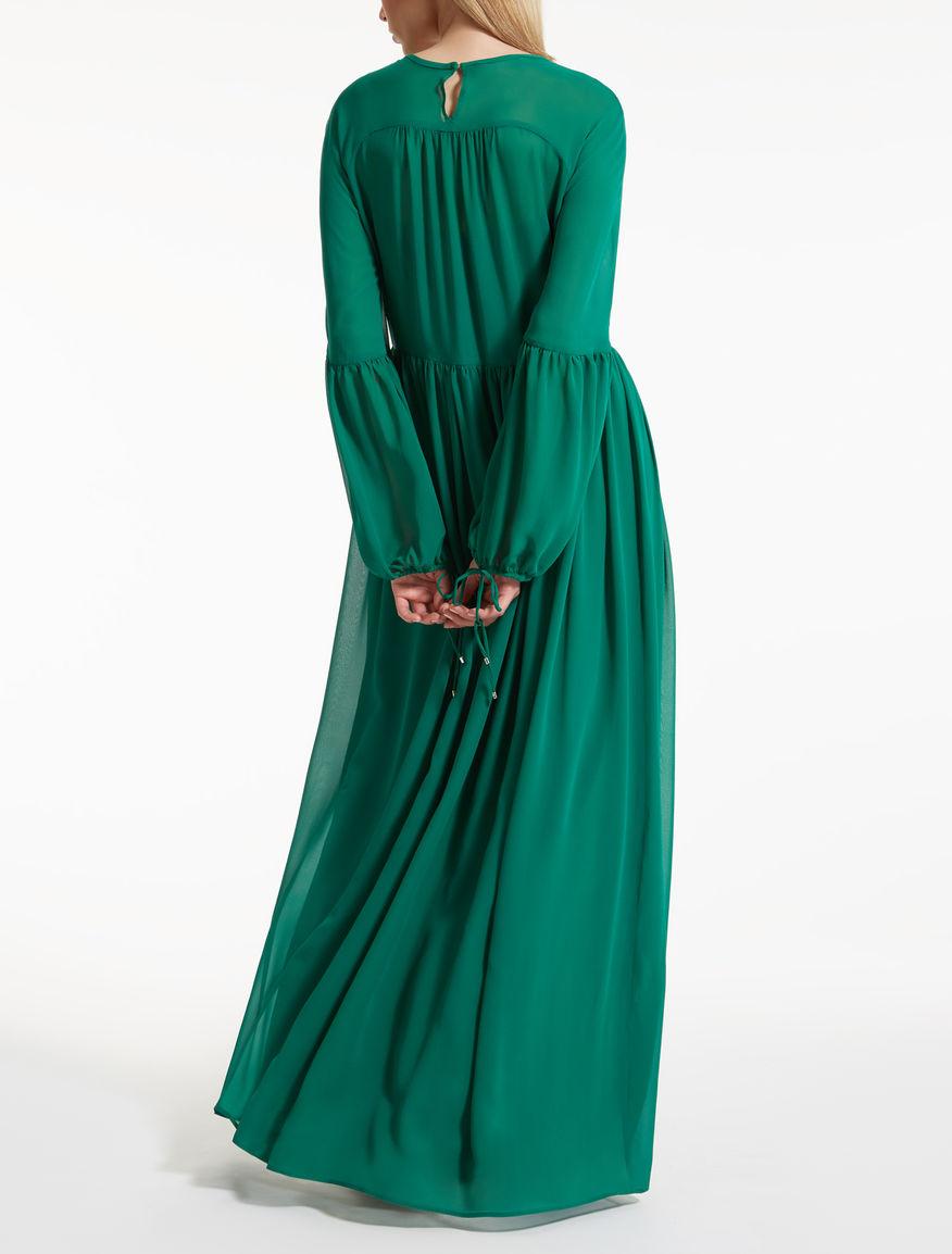 Silk georgette dress, emerald - \