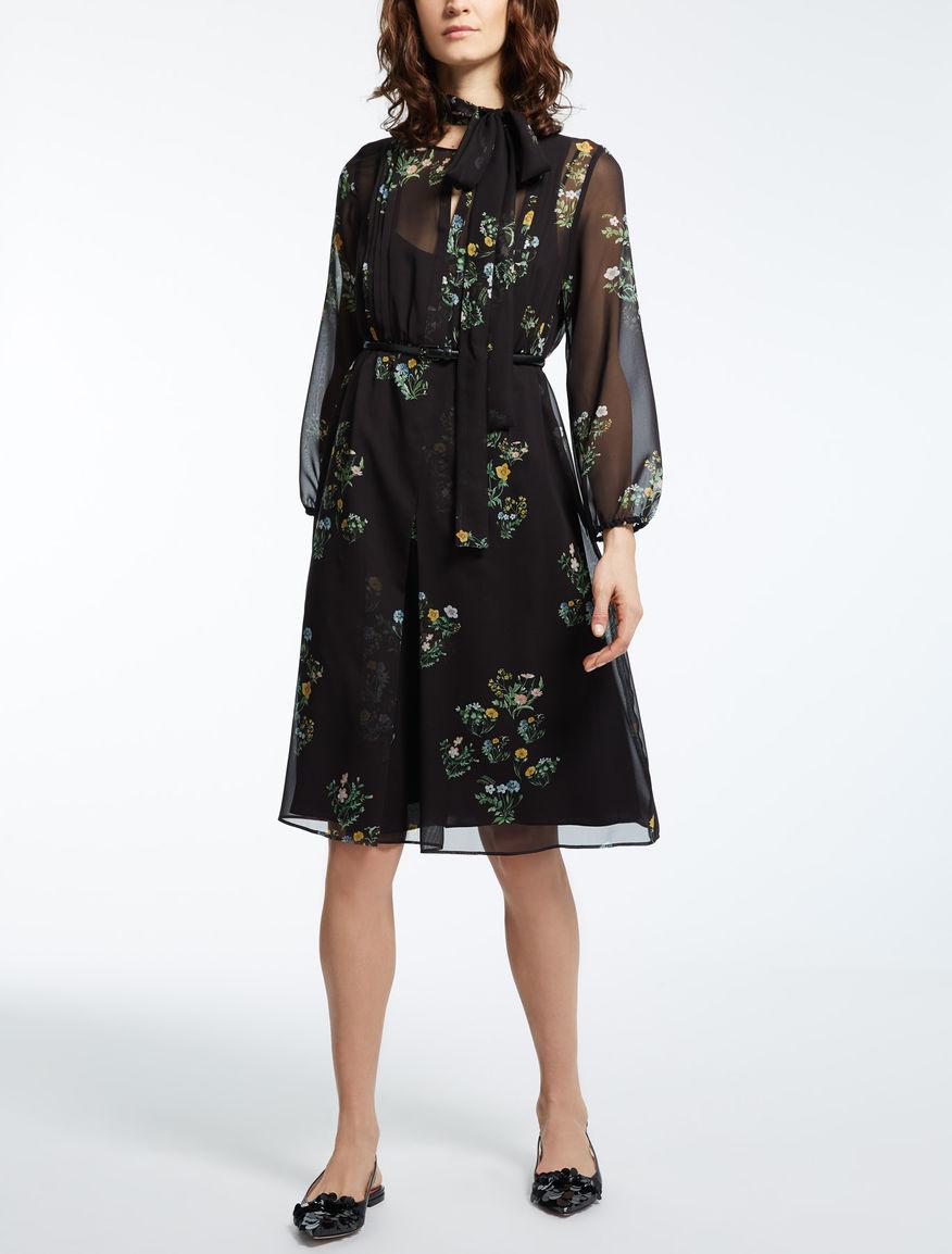 シルク ジョーゼットプリント ドレス