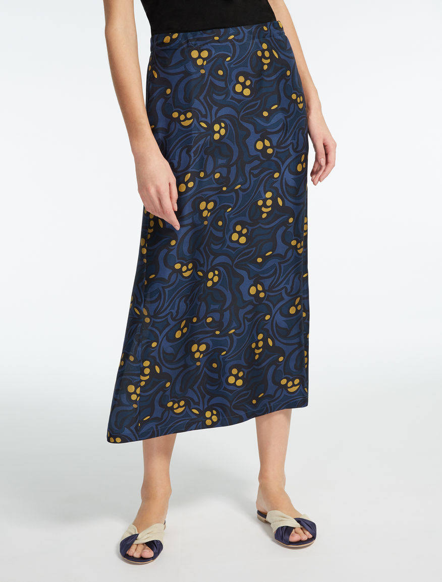 Silk twill tube skirt