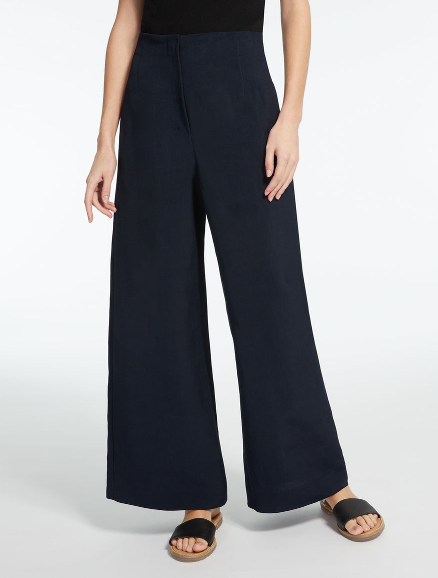 Linen and viscose canvas trousers