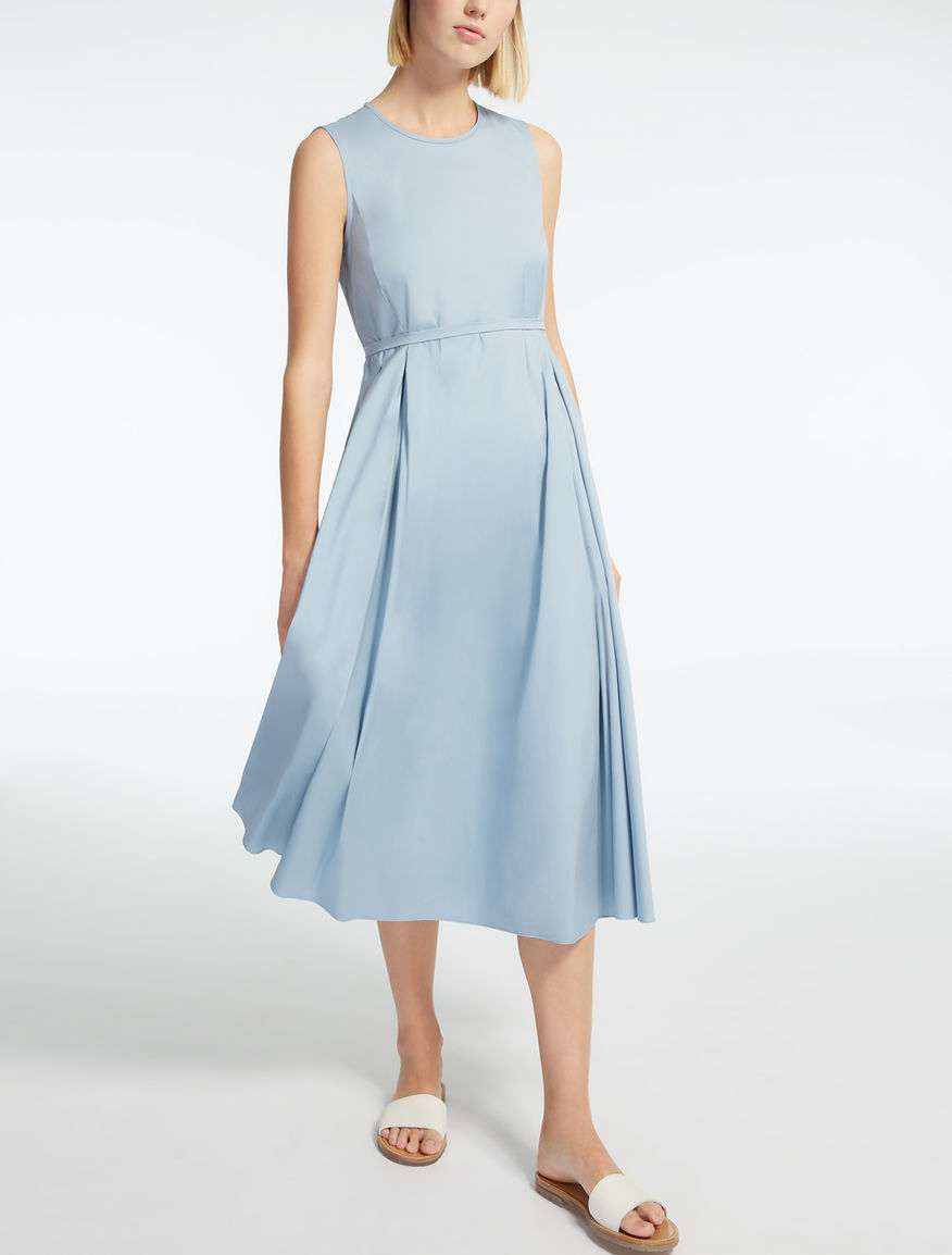 Cotton poplin dress, sky blue - \