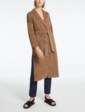 Suede duster coat