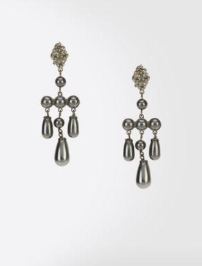 Earrings with crystal pearls