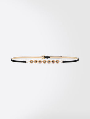 Jewelled suede belt