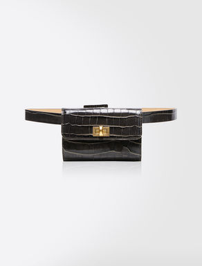 Crocodile-print leather belt bag