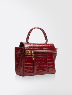 Crocodile-print leather top handle bag