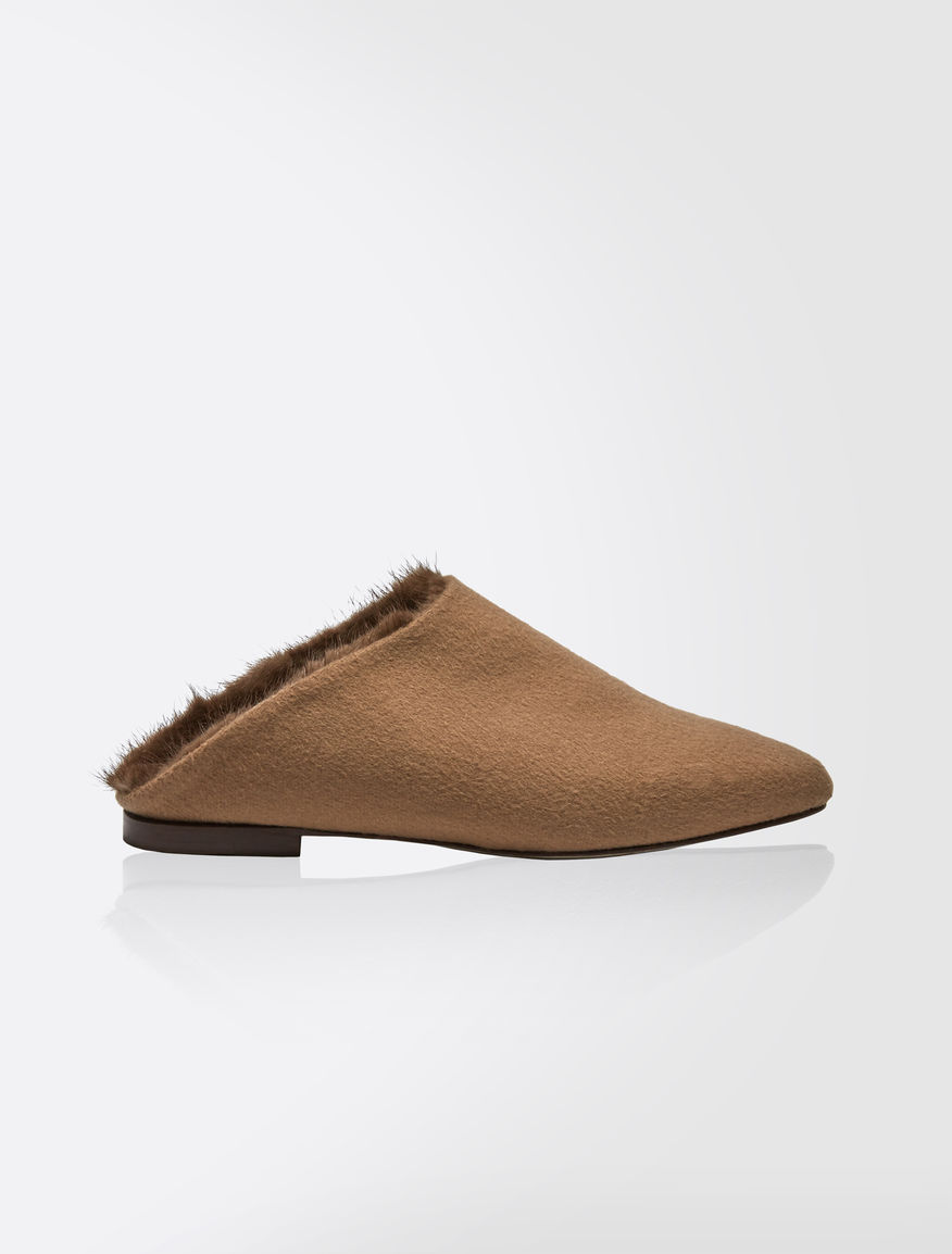 Cashmere and mink mules
