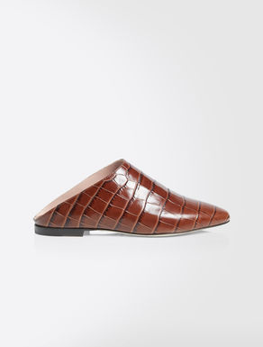 Crocodile-print leather mules