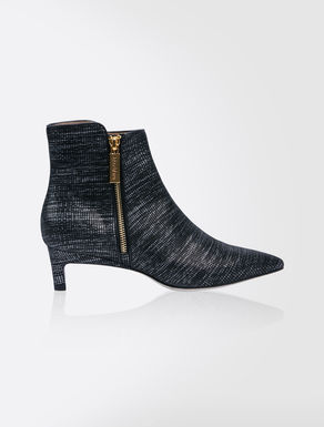 Sequinned leather ankle boots