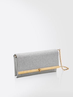 Glittery leather clutch