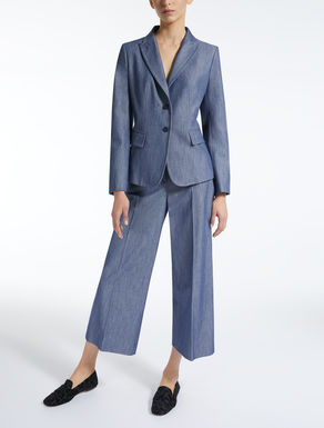 Denim-effect cotton blazer