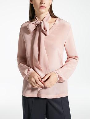 Blusa in seta e jersey stretch