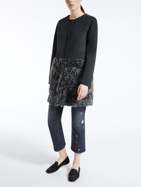Wool and fur coat