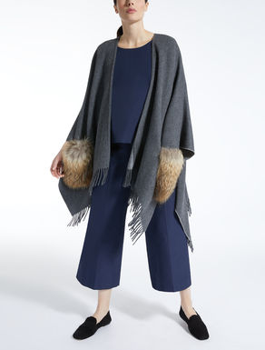Wool and fur cape