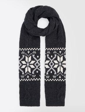 Jacquard wool scarf