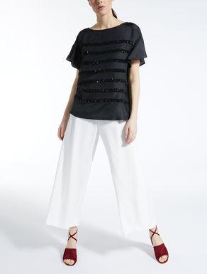 T-shirt in seta e jersey stretch