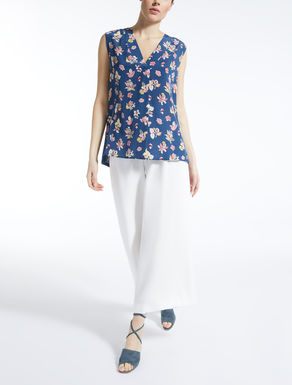 Silk and stretch jersey top