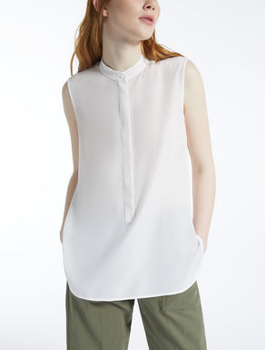 Silk and stretch jersey blouse