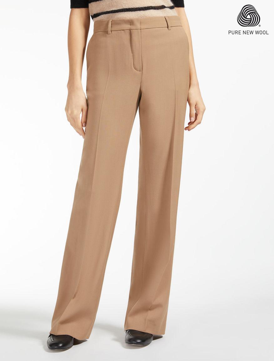 Pantalon en crêpe satin de laine