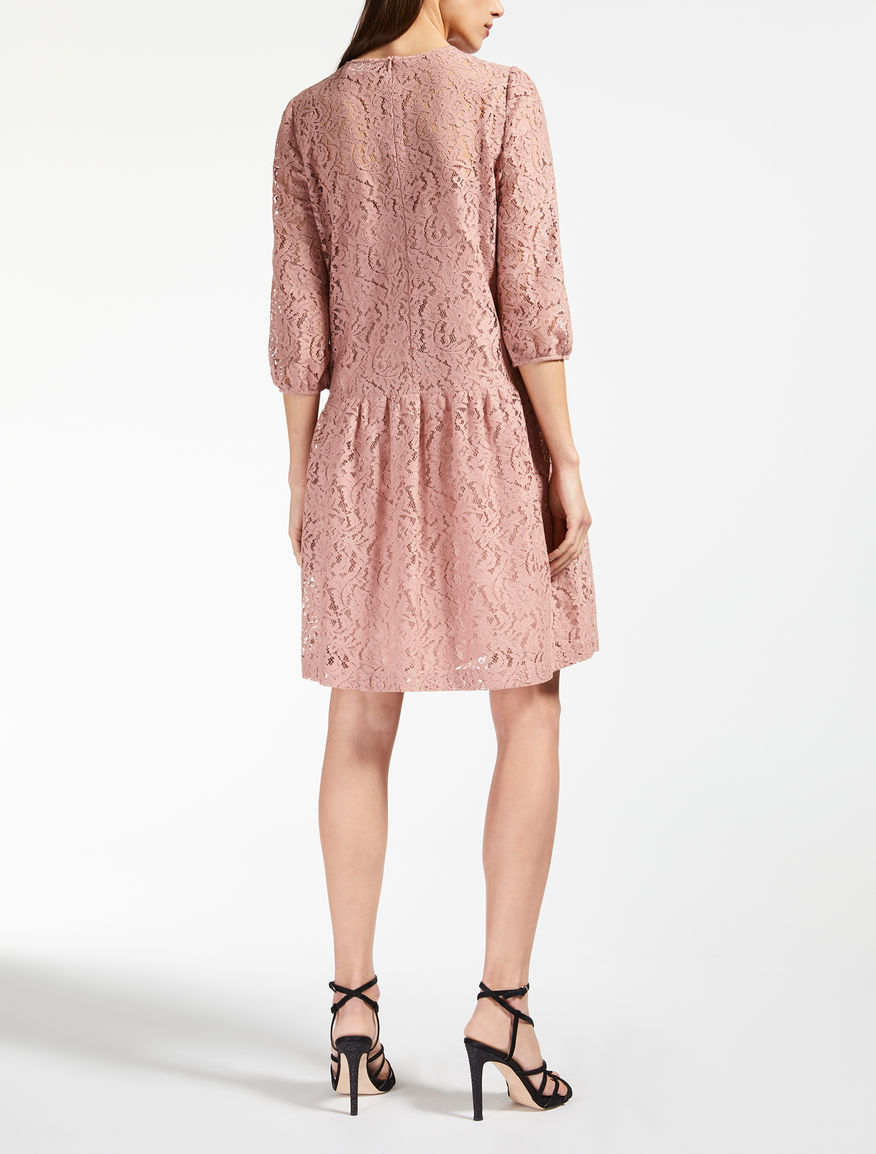 Vestido de encaje de algodón, rosa antiguo - \