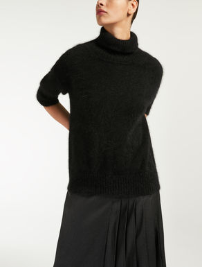 Polo neck jumper in angora yarn blend