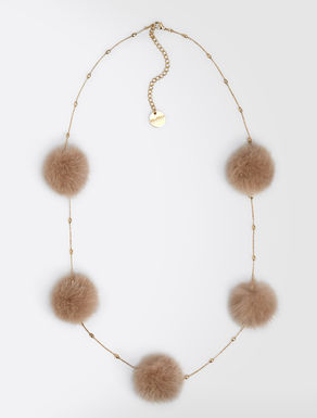 Metal and mink necklace