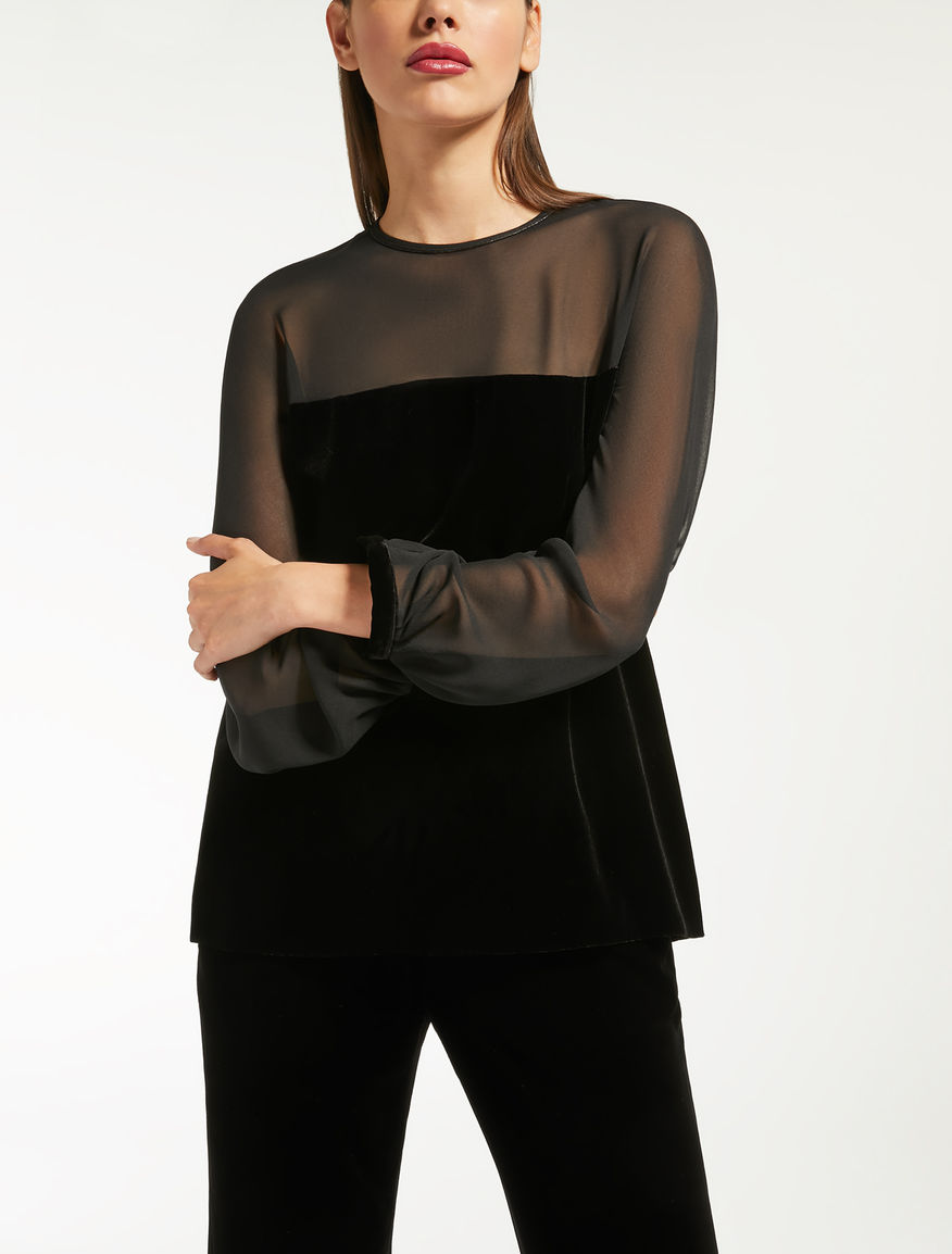 Blusa in velluto panné