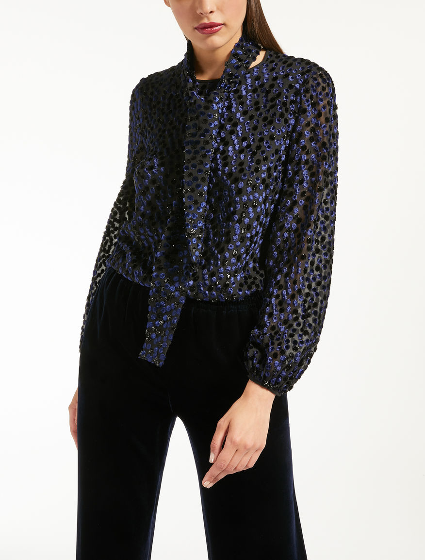 Bluse aus Fil-Coupé aus Seide