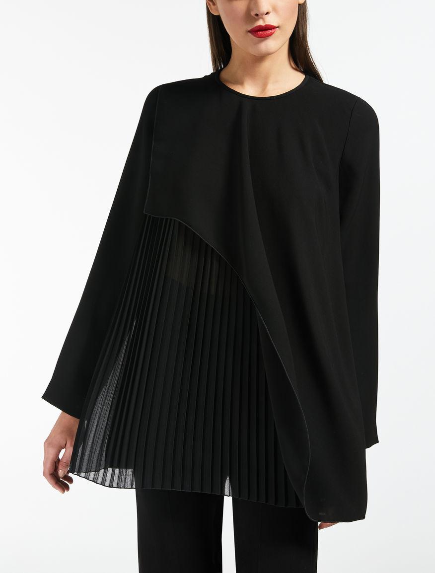 Bluse aus leichtem Cady und Seiden-Georgette