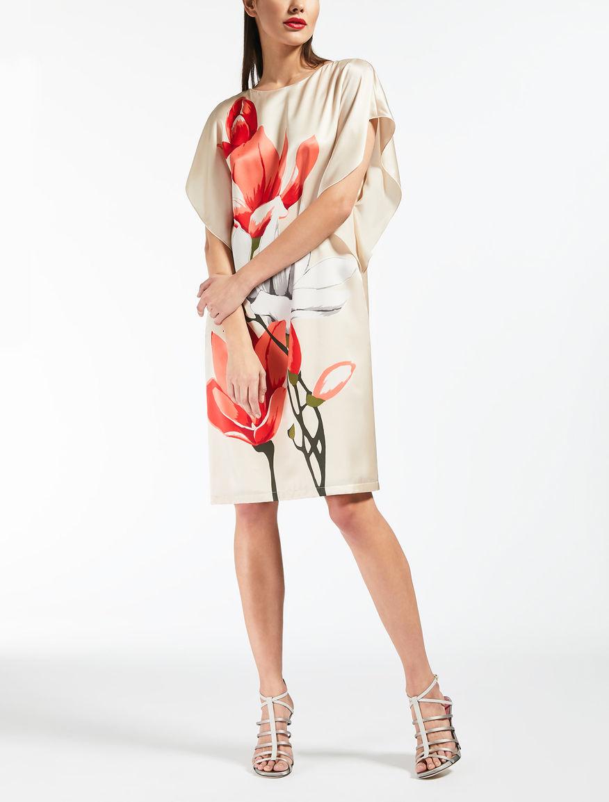 Kleid aus bedrucktem Seiden-Satin