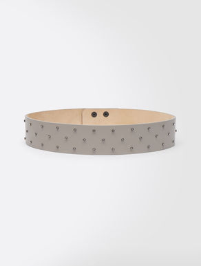 Leather belt with gems